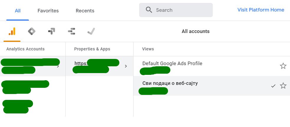 Default Google Ads Profile u Analitici