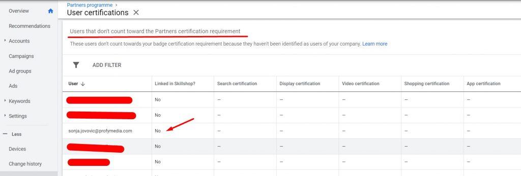 Korporativni mail koji ne ispunjava uslov za sertifikaciju