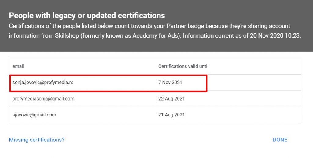 Spisak mailova sa sertifikatom u 2020